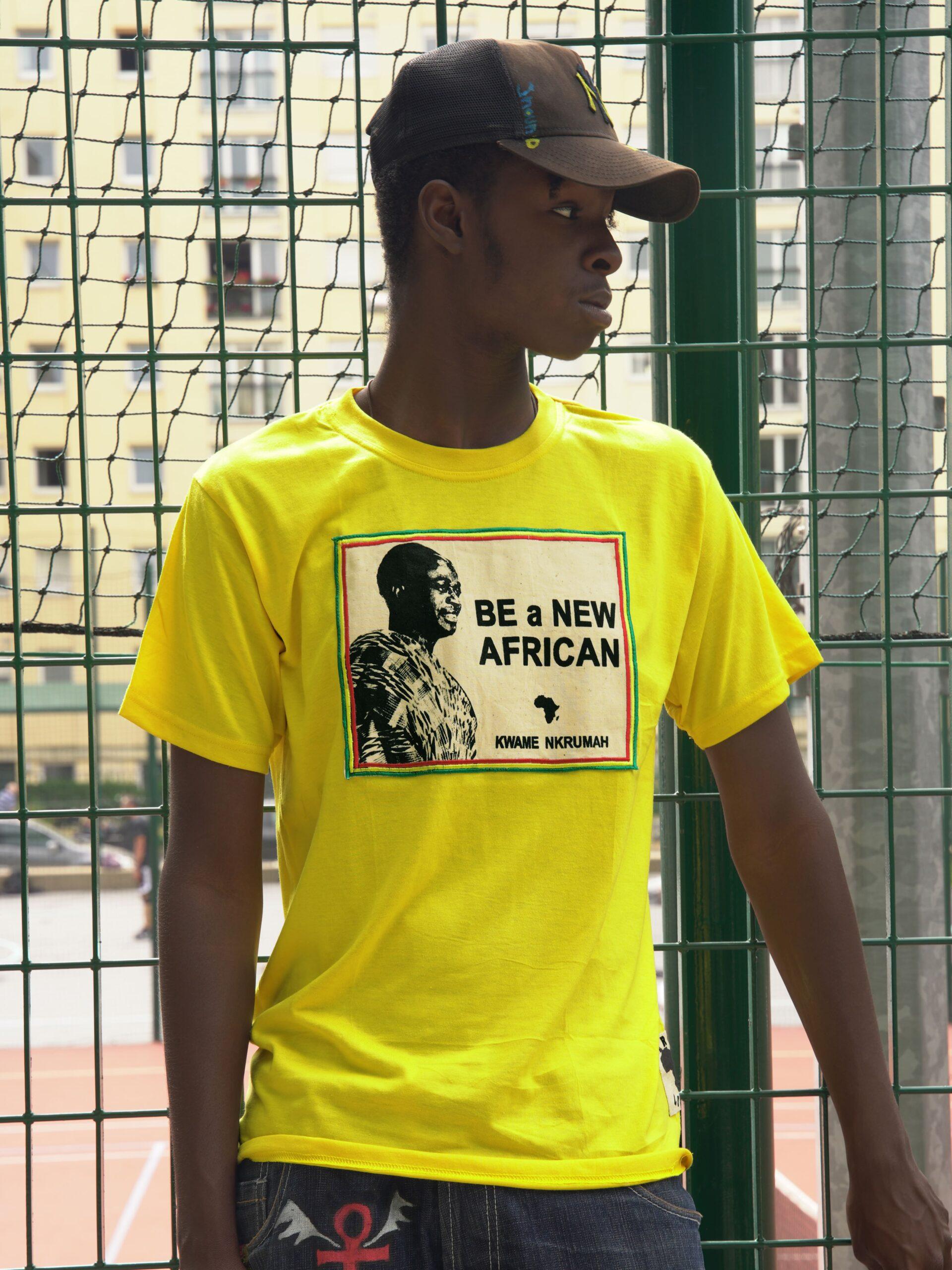 T.Shirt Kwame Nkrumah - Be a New African -jaune