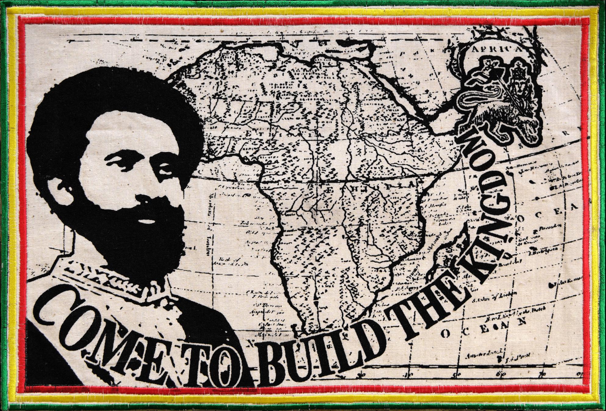 Patch Écusson Haile Selassie Come to Build the Kingdom - vert jaune rouge